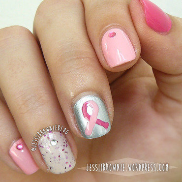 Pink October nail art by Jessi Brownie (Jessi)