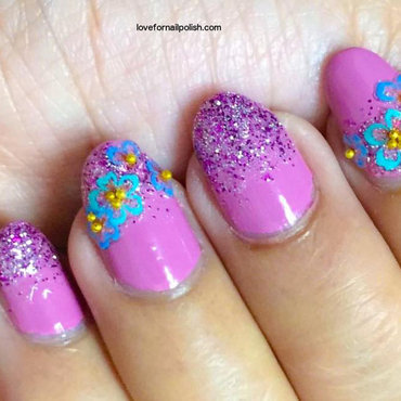 Pink Glitter Ombre and Flower Stickers nail art by Demi