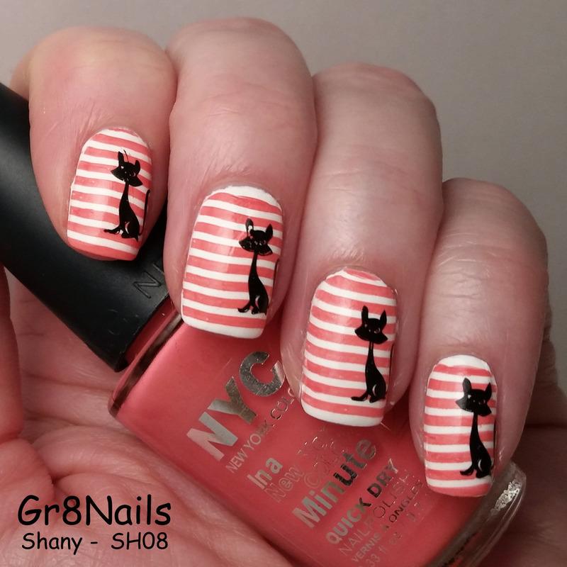 Black Cat nail art by Gr8Nails
