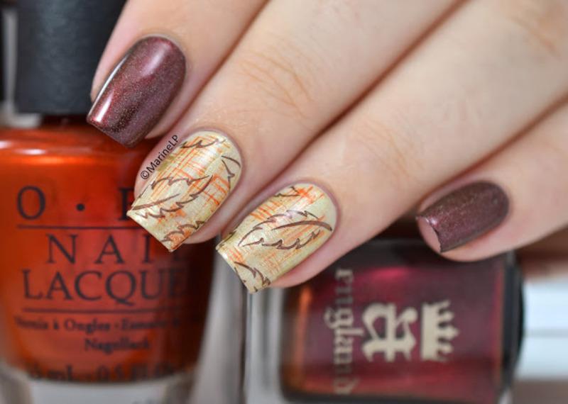 Autumn nail art by Marine Loves Polish - Nailpolis: Museum of Nail Art