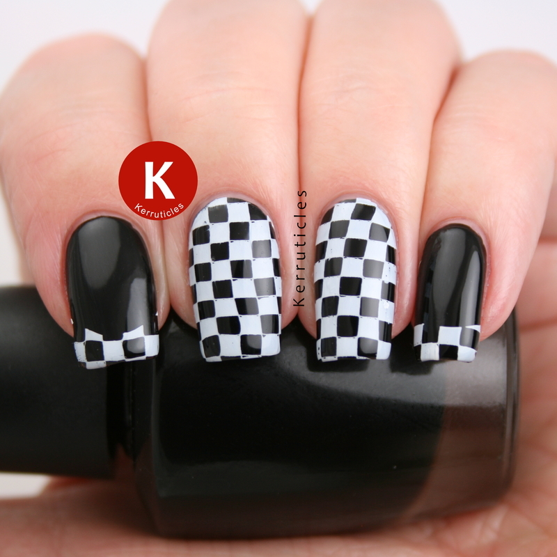 Black and white checked nails nail art by Claire Kerr