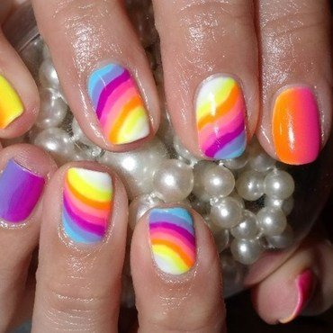 Rainbow ombre gradient colorful fun nail art by Agnieszka
