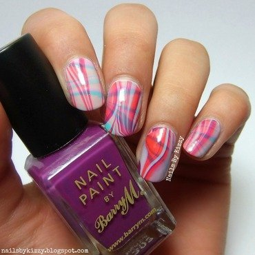 Double Water Marble nail art by Kizzy