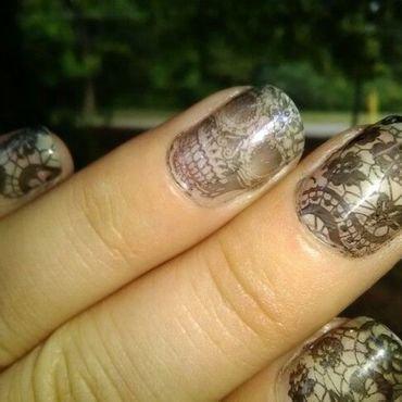 skulls n laces nail art by Sunny