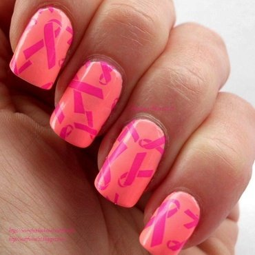 Breast Cancer Awareness  nail art by Angelique Adams