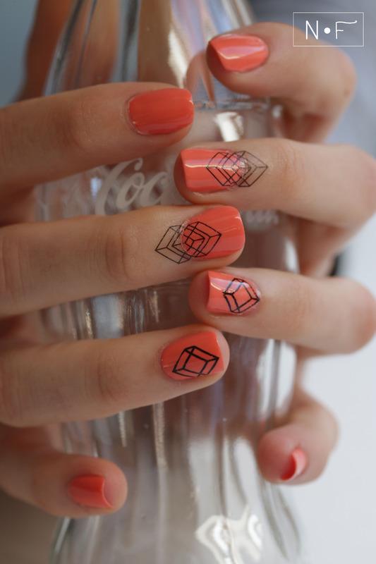 Graphic nail tattoos nail art by NerdyFleurty