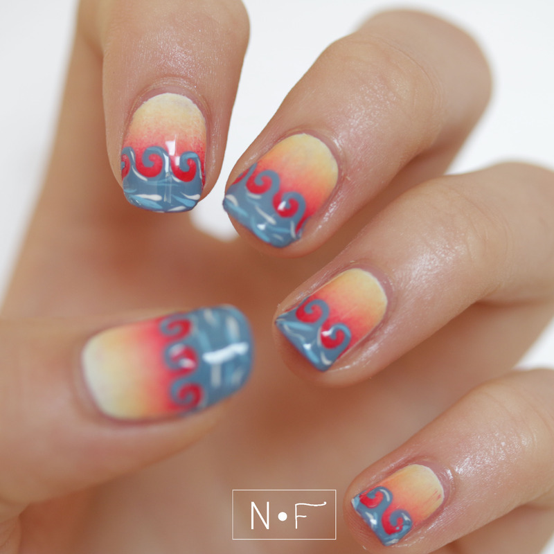 Sunrise at the ocean nail art by NerdyFleurty