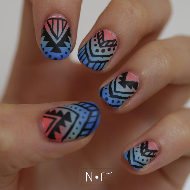 Sunset and tribal combo nail art by NerdyFleurty