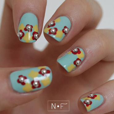 Flowers with rhinestones nail art by NerdyFleurty