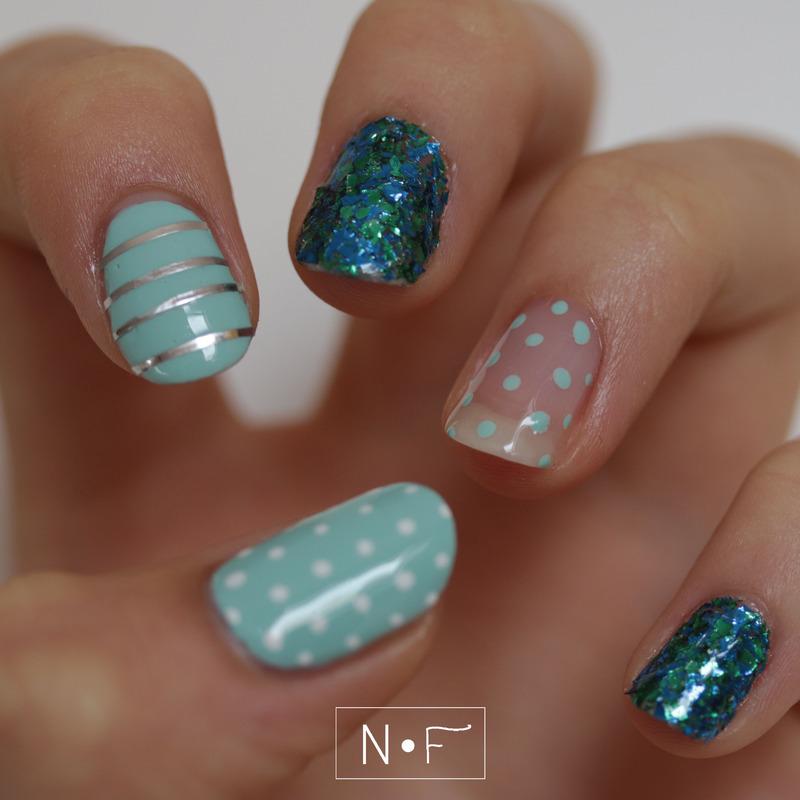 Ocean skittle mani nail art by NerdyFleurty
