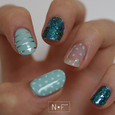 Ocean skittle mani nail art by NerdyFleurty