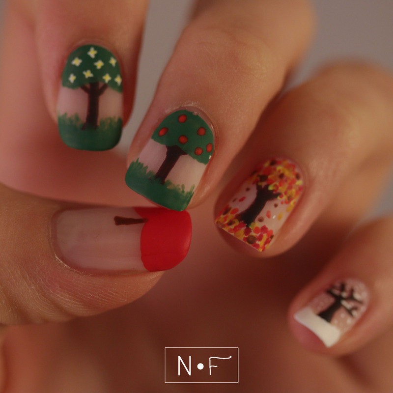 The four seasons of an apple tree nail art by NerdyFleurty ...