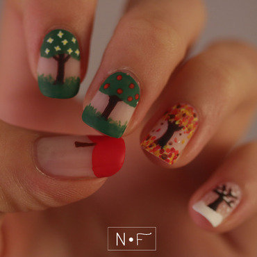 The four seasons of an apple tree nail art by NerdyFleurty