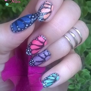 My butterfly nail art by terii