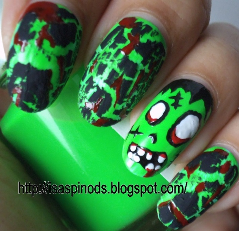 Zombies - Halloween 2013 nail art by Isabel