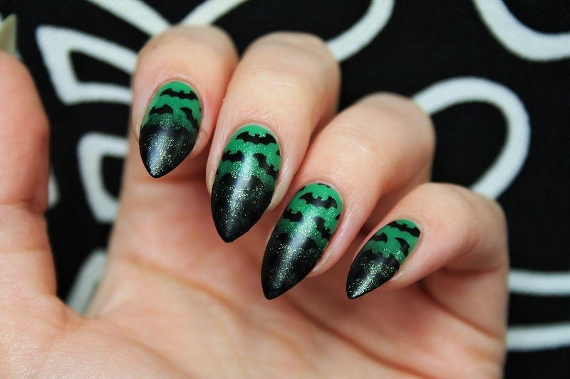 Bats nail art by Jane