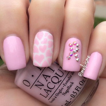 Pink Ribbon nail art by Melissa