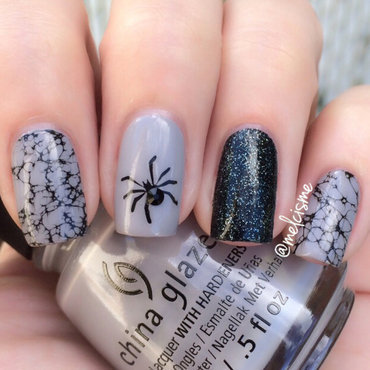 Spider!!!!!! nail art by Melissa