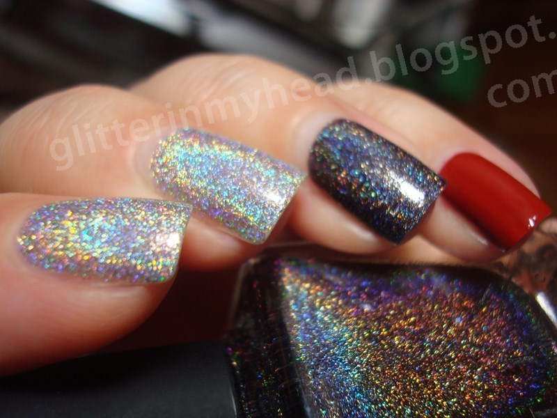 holo, holo& red nail art by The Wonderful Pinkness