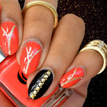 Coral and Gold Glam nail art by Fatimah