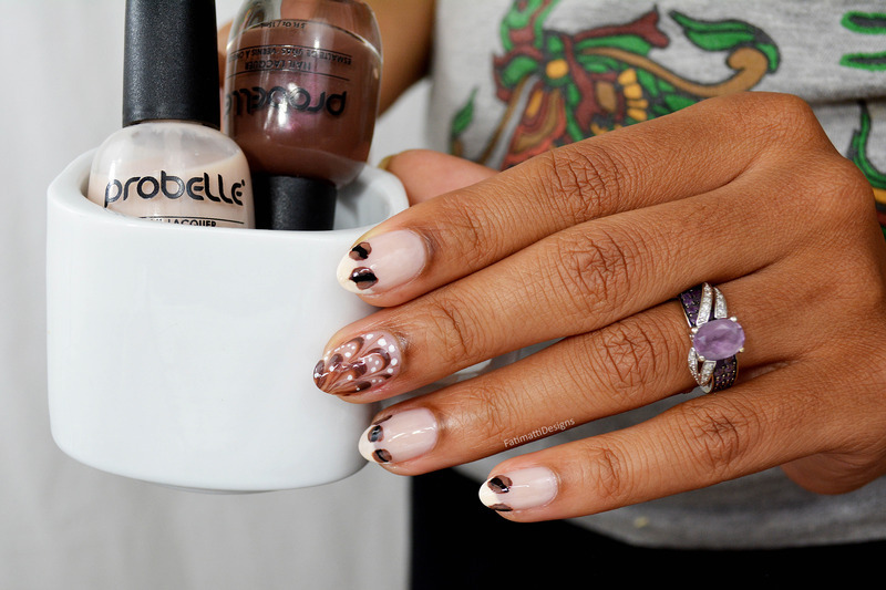 Coffee Inspired nail art by Fatimah