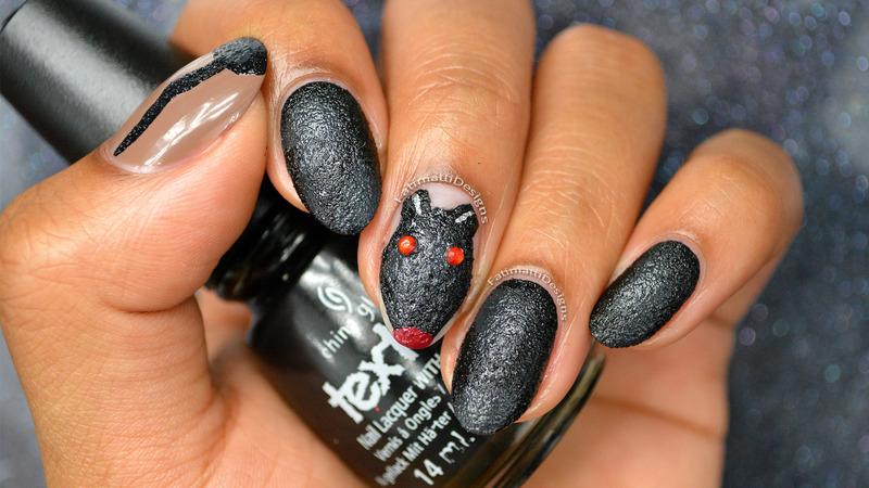 Halloween Rat nail art by Fatimah