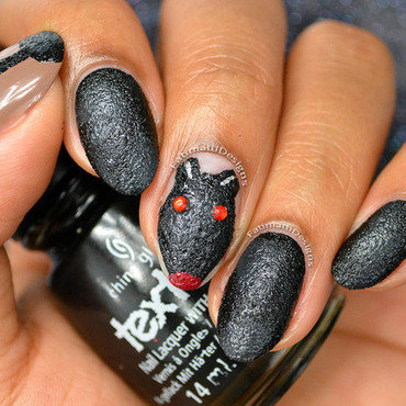 Halloween Rat nail art by Fatimah