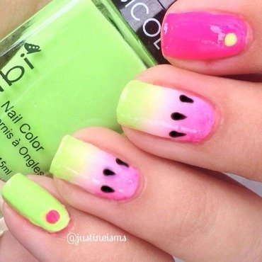 Neon Watermelons nail art by ℐustine