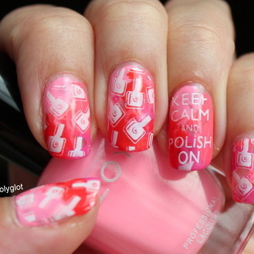 Stamping over pink and red saran wrap nail art by Polished Polyglot