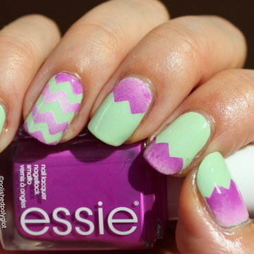 Pale Green and violet zig zag gradient nail art by Polished Polyglot
