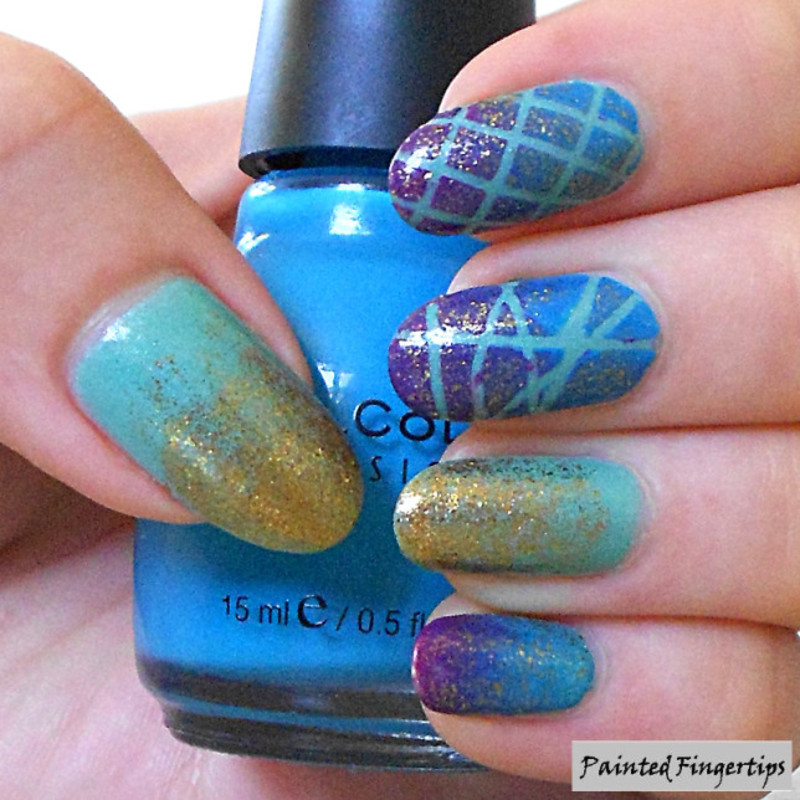Glitter, Gradients, and striping tape nail art by Kerry_Fingertips