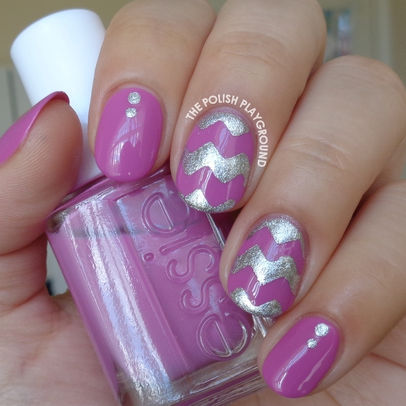 Orchid and Silver Chevron Nail Art nail art by Lisa N