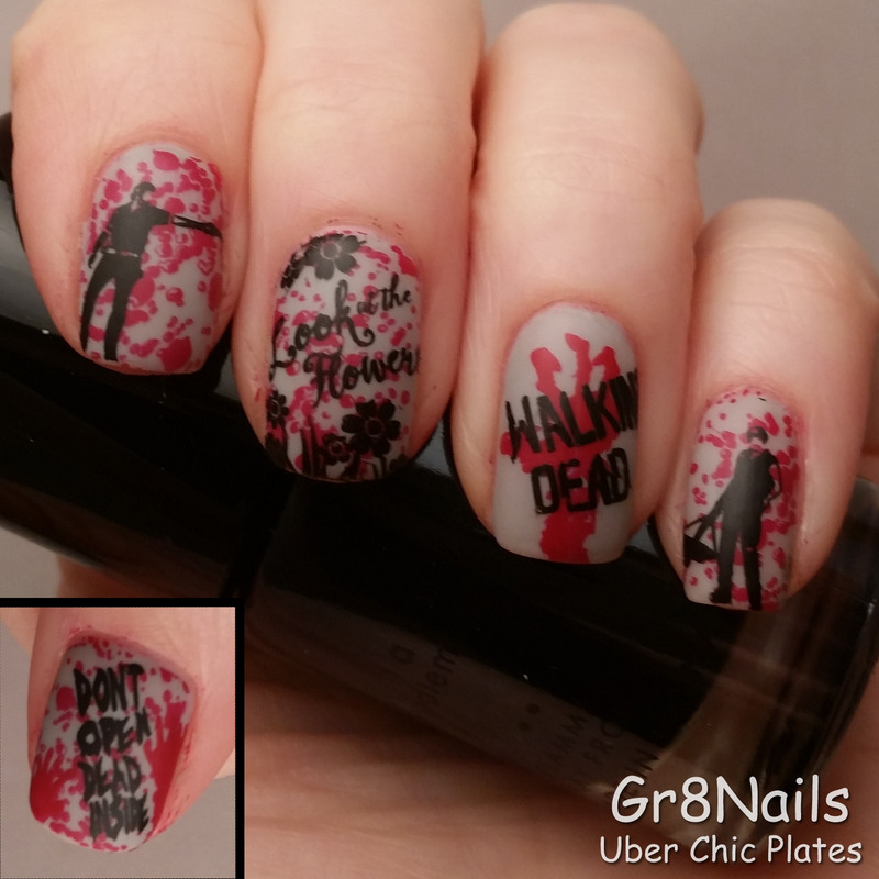 The Walking Dead nail art by Gr8Nails