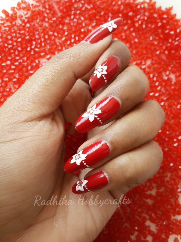 Red n white nail art by Radhika - Nailpolis: Museum of Nail Art