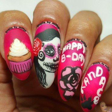 Candy Skull Pin Up nail art by Milly Palma