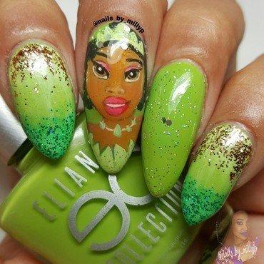 Princess Tiana 'Princess and the Frog' nail art by Milly Palma
