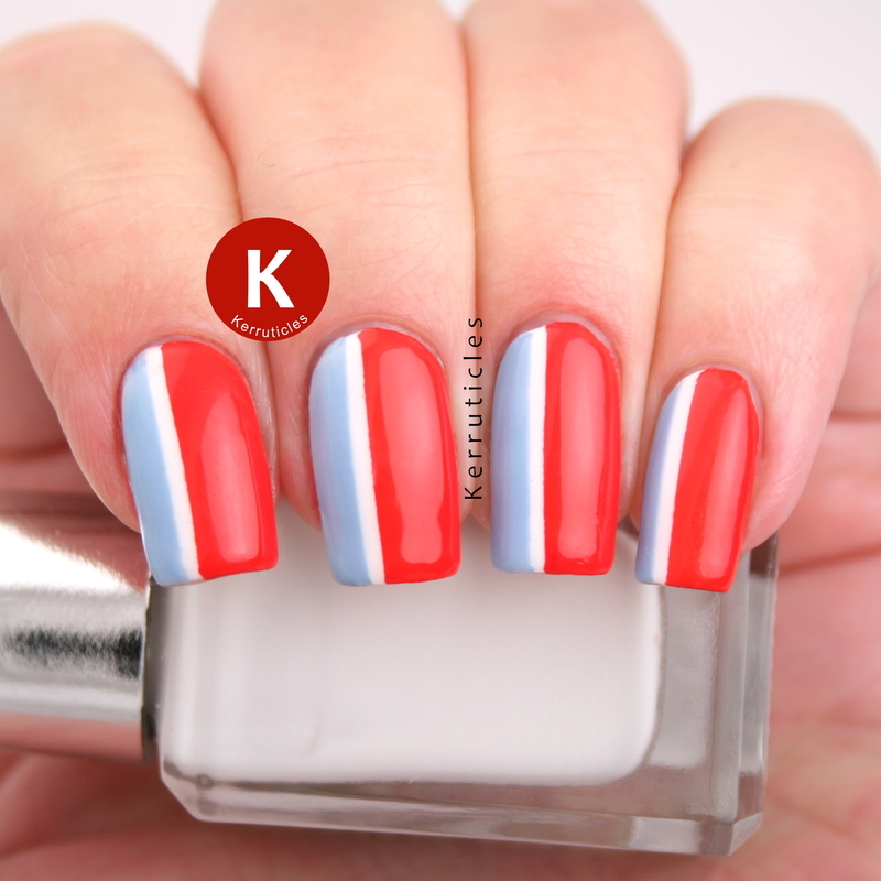 Red, white and blue stripes nail art by Claire Kerr