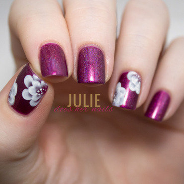 Pink and White One Stroke Flowers nail art by Julie