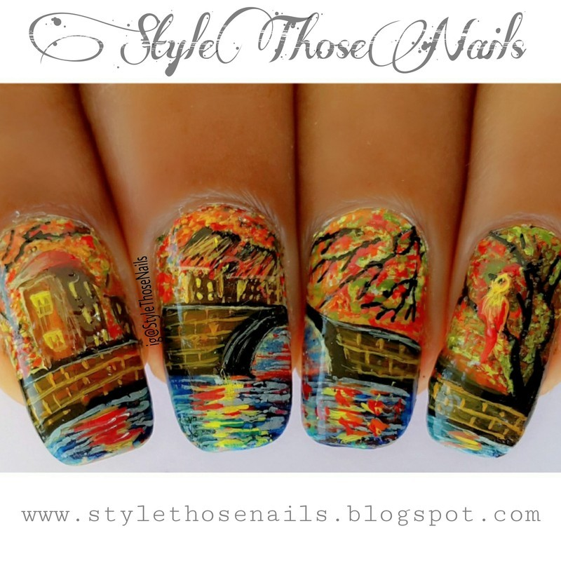 Autumn In The Country Side Landscape Nails For Fall Nail Art By