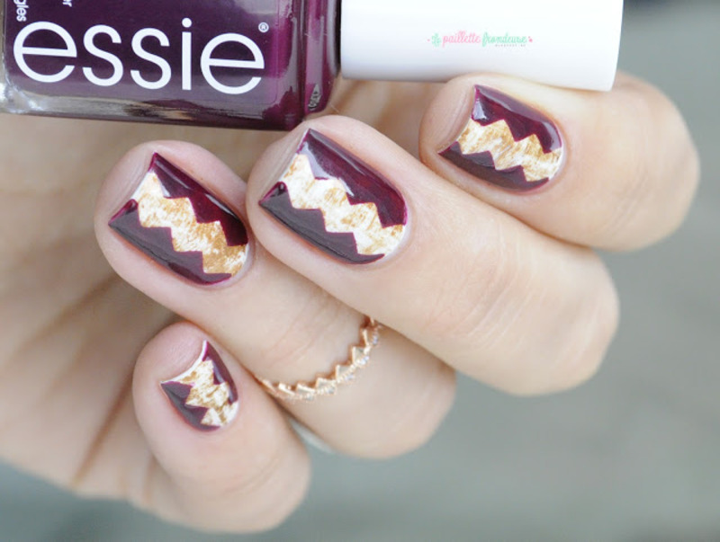 dry brush and zig zag nail art by nathalie lapaillettefrondeuse