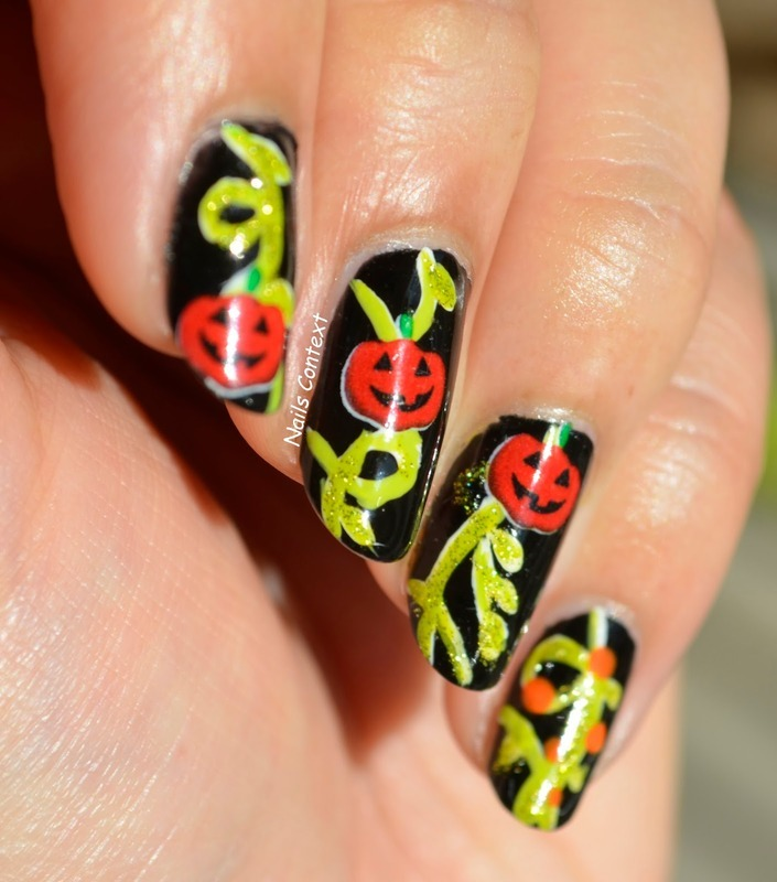 Pumpkin Vines nail art by NailsContext