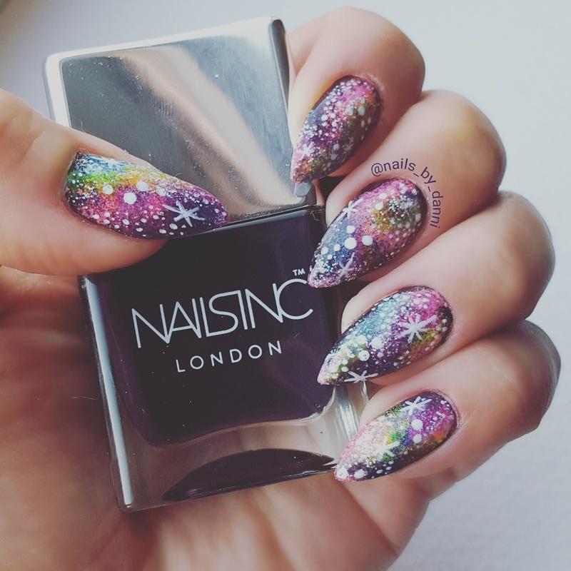 Rainbow galaxy nail art by Danielle  Hails