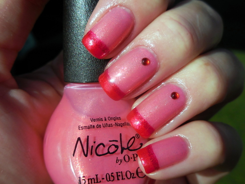 Pink 'n Red nail art by Donner