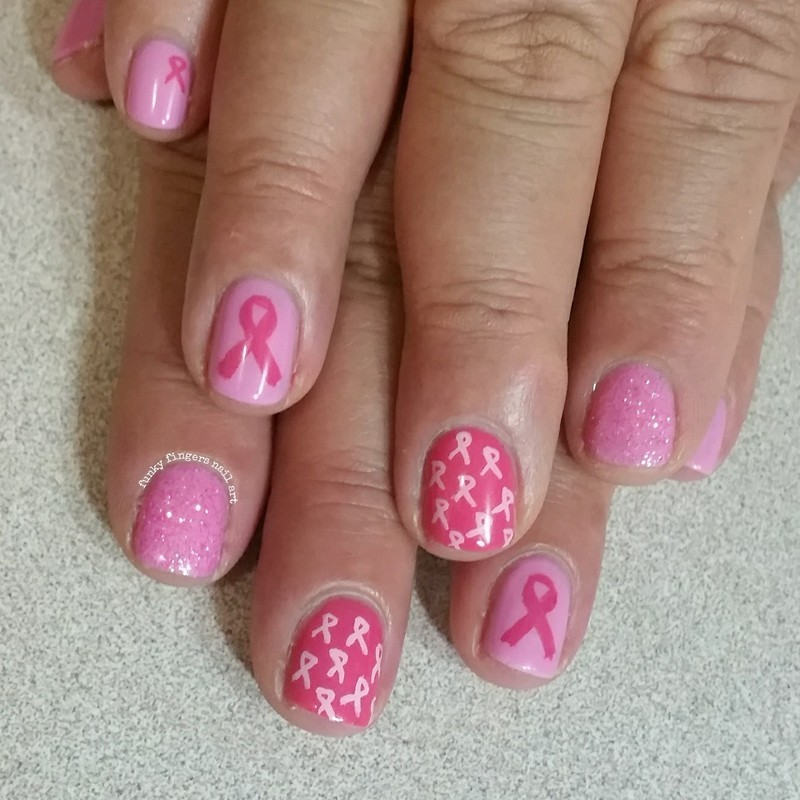 pink ribbon nails nail art by Funky fingers nail art