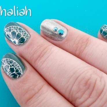 Teal and decals nail art by Kahaliah