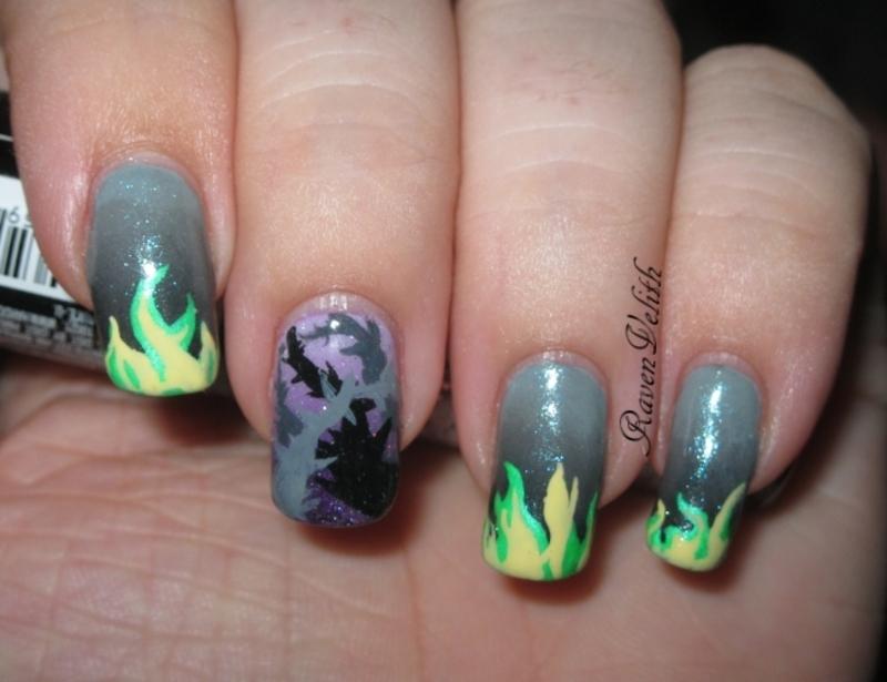 Maleficent Inspired nail art by Lynni V. - Nailpolis: Museum of Nail Art
