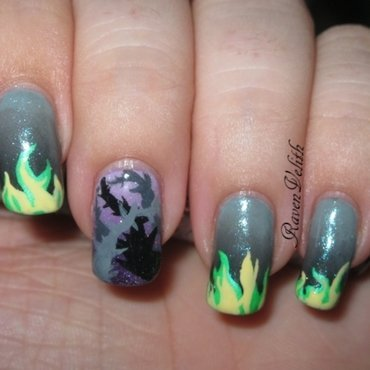 Maleficent Inspired nail art by Lynni V.