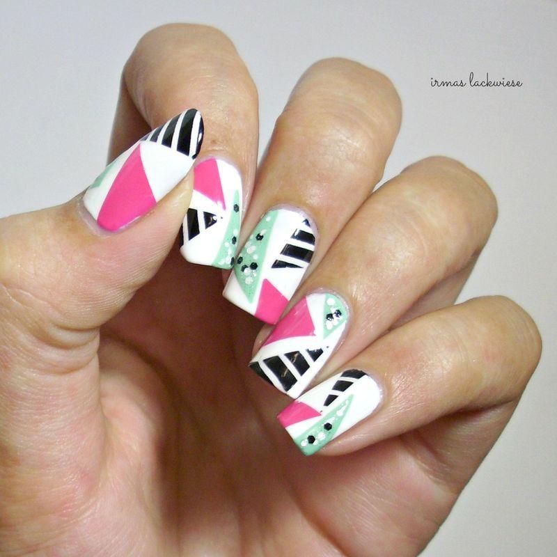 geometric colour-shreds nail art by irma