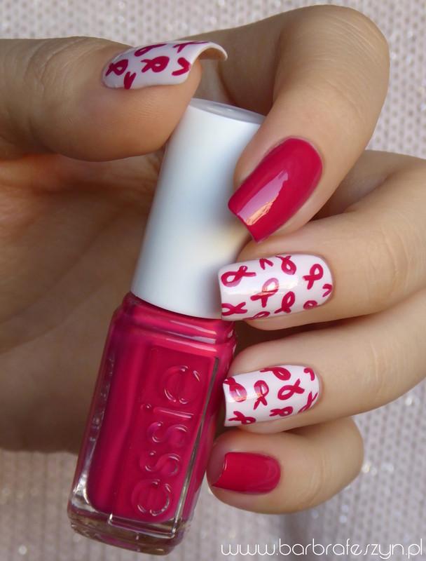 Breast cancer awareness nail art by barbrafeszyn