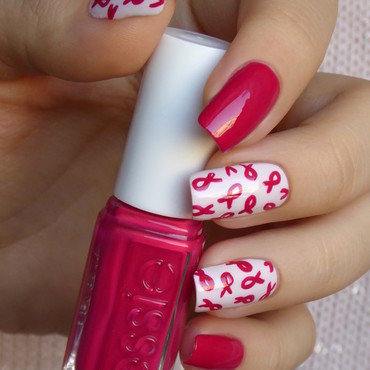 Breast cancer awareness nail art by barbrafeszyn